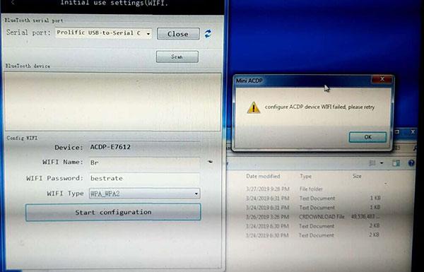 configure acdp device wifi failed